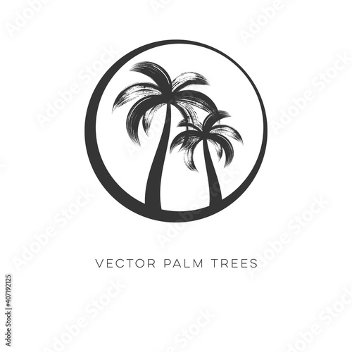 Creative vector palm trees logo design template isolated #407192125
