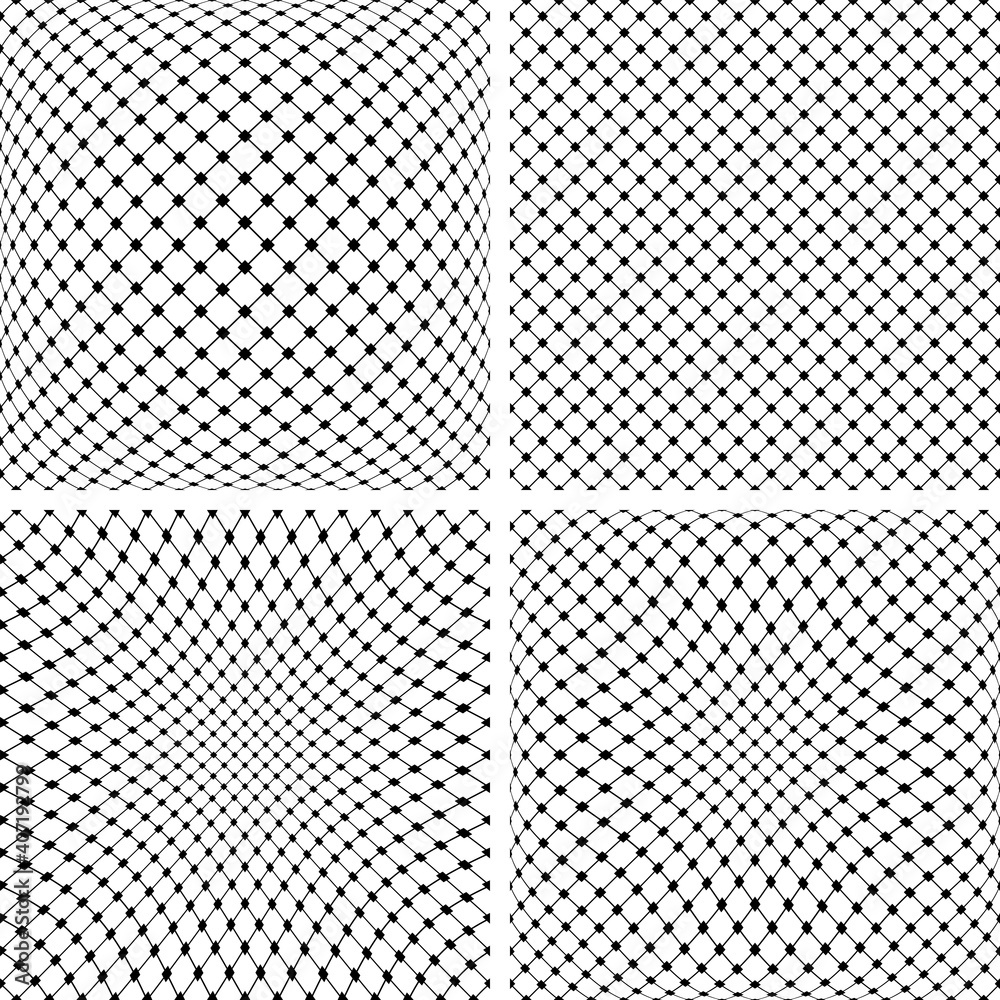 Fototapeta Set of 3D net patterns. Abstract convex and concave textures.