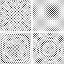 Set Of 3D Net Patterns. Abstract Convex And Concave Textures.
