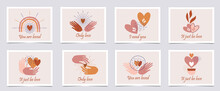 Set Of Cards Bohemian Style Valentine's Day. Perfect For Apparel Design, Home Decor, Valentine's Day Greeting Cards, Logos, Posters, Prints, T-shirt, Packaging, Invites And Much More!