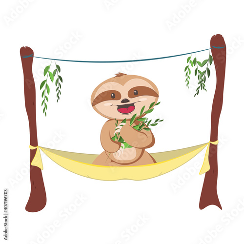 Fototapeta premium Cute gray sloth sleeping, resting on tree branch. Adorable hand drawn baby sloth character hanging on the tree.