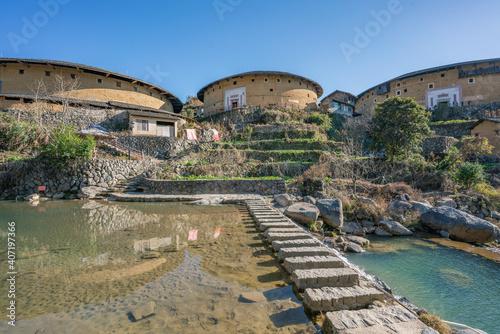 Slika na platnu Inside view of a Tulou, a historic building in Fujian province, China