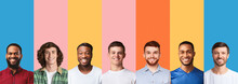 Row Of Diverse Males Portraits In Collage Over Bright Backgrounds