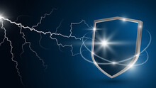 Glowing Lightning Strikes The Shield. Protection Against Electrical Discharge. Concept Of Reliable Protection, Security. Realistic 3d Vector. Dark Blue Background