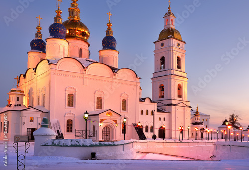 Tobolsk Kremlin on a winter evening. St. Sophia-Assumption Cathedral in pink light. Old Russian architecture of the XVII century in the first capital of Siberia
