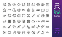 Auto Parts Icon Set. Car Part Isolated Vector Icons.