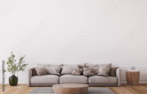 Obraz Mockup wall in farmhouse living room interior, beige sofa on white wall background, 3d render - fototapety do salonu