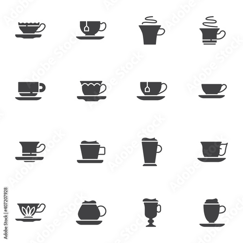 Fotografie, Obraz Tea and coffee cup vector icons set, modern solid symbol collection, filled style pictogram pack