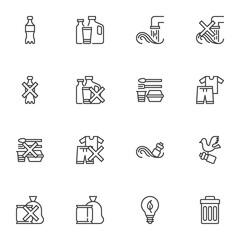 Fototapeta Boks Plastic pollution line icons set, outline vector symbol collection, linear style pictogram pack. Signs, logo illustration. Set includes icons as plastic bottle, waste trash bin, eco lamp, garbage bag