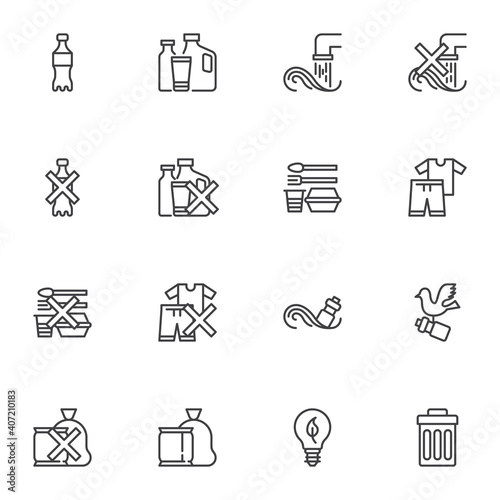 Plastic pollution line icons set, outline vector symbol collection, linear style pictogram pack. Signs, logo illustration. Set includes icons as plastic bottle, waste trash bin, eco lamp, garbage bag