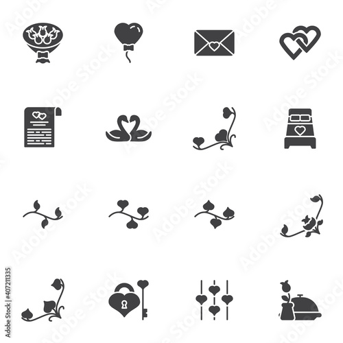 Fotografie, Obraz Valentine day vector icons set, modern solid symbol collection, filled style pictogram pack