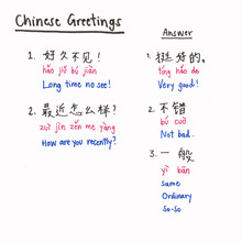 Learn Chinese Greetings Conversation. Chinese Alphabet 'Han Zi' And 'Pinyin'. Simplified Chinese Alphabet Studying. Hand Writing Chinese On Paper By Color Pen.