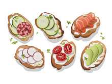 Variety Of Mini Sandwiches With Cream Cheese- Assorted Canapes With Cucumber, Radish, Tomatoes, Salami, Avocado, Red Fish Appetizer On A White Background, Top View, Vector Illustration, Flat Compositi