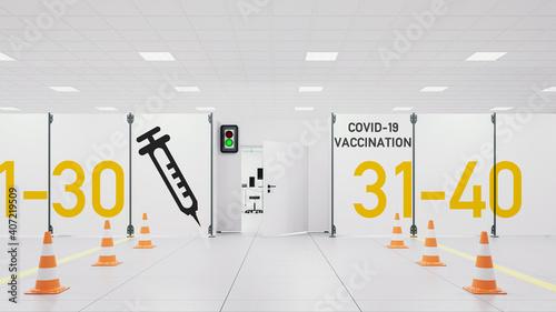 Obraz Covid-19 Impfzentrum in Lagerhalle bei Coronavirus Pandemie - fototapety do salonu