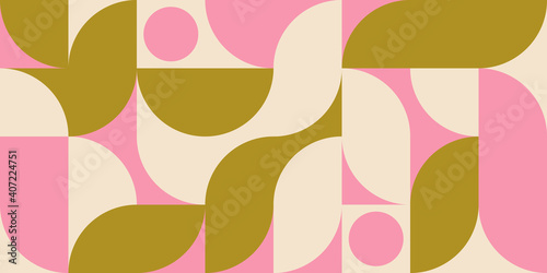 Photo Modern vector abstract  geometric background with circles, rectangles and squares  in retro scandinavian style