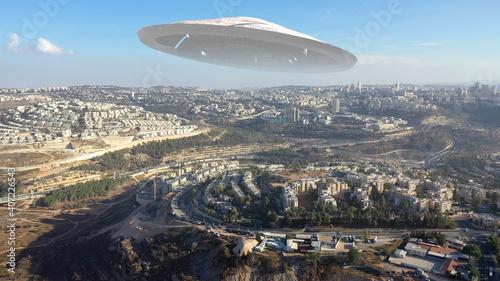 Fotografija Alien Spaceship ufo Hovering over Jerusalem city-Aerial view , Drone view over J