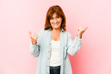 Senior Caucasian Woman Isolated Raising Both Thumbs Up, Smiling And Confident.
