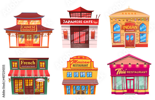 Six isolated buildings, traditional world cuisines restaurants and cafes Fotobehang