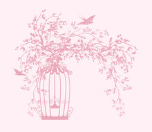 Blooming Spring Sakura Tree Branches With Open Cage And Flying Swallow Birds Vector Silhouette Design