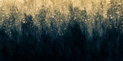 Abstract art grunge paint background by deep blue and gold splash texture in concept grunge, luxury, retro.