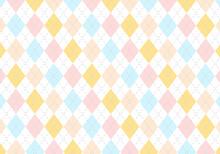 【背景素材】アーガイルチェック柄23 4色(水色&サーモンピンク&ピンク&黄色)
