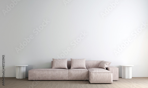 Scandinavian style living room with sofa and tea table. Minimalist living room design, and empty white wall background, 3D illustration