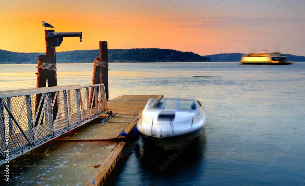 Fotografie, Obraz Port of Tacoma, Washington at sunset hour long exposure