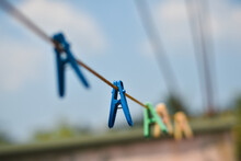 Clothes Peg On A Clothesline