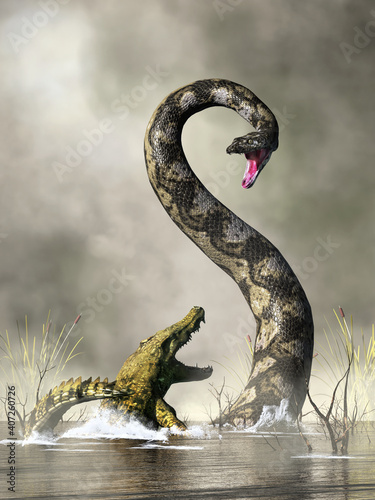 Canvas Print A huge snake rears up out of the water to confront an unfortunate crocodile