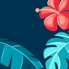 Background With Hibiscus Flowers And Palm Leaves.