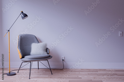 Fotografie, Obraz Designer chair and Lamp on an empty room