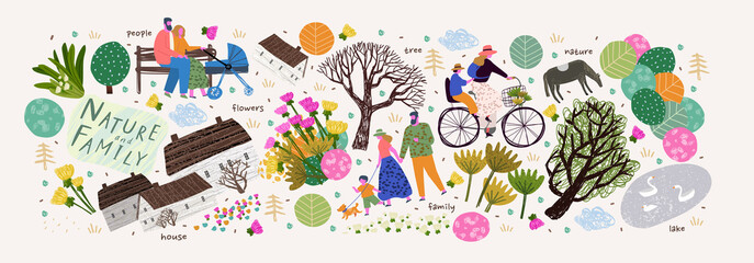 Nature, family and people. Vector illustration of a house, lake, village, tree and flowers. Drawings and objects for poster, background or pattern