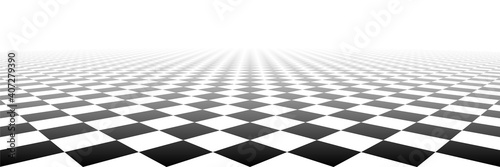 Fotografie, Obraz Checkered tile geometric perspective checkerboard surface material vector background illustration