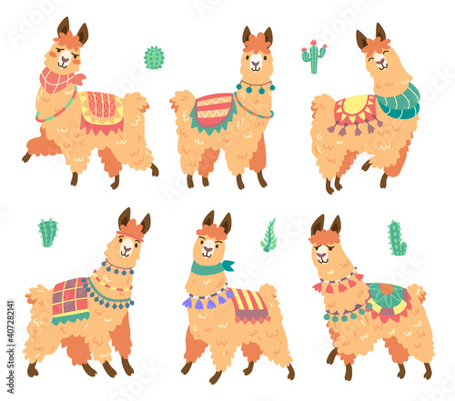 Fototapeta premium Cute alpaca character with different emotions isolated on white background. Vector set of cartoon mascot, adorable llama smiling, happy, sad and surprised. Creative emoji set, sweet lama chatbot