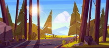 Landscape With Road Through Forest And Mountains On Horizon. Vector Cartoon Illustration Of Nature Scene With Car Highway, Coniferous Trees, Stones And Mountain Valley. Trip And Journey Concept