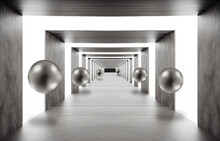 3d Mural Wallpaper . Illustration Background Tunnel With Sphere . Empty Hall Background