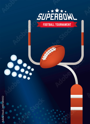 Obraz super bowl championship lettering in poster with balloon and arch - fototapety do salonu