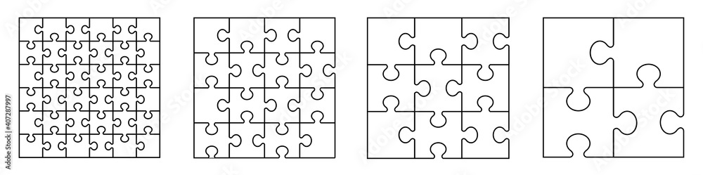 Fototapeta Puzzles grid - blank template. Puzzle pieces vector set. Puzzle jigsaw on white background. Set of puzzle pieces. Vector illustration