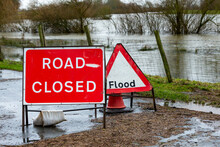Road Closed And Flood Signs In The Rural Village Of Breighton Due To Flooding Caused By Storm Christoph And Heavy Rains In North Yorkshire, UK. Winter 2021.  Horizontal.  Space For Copy.