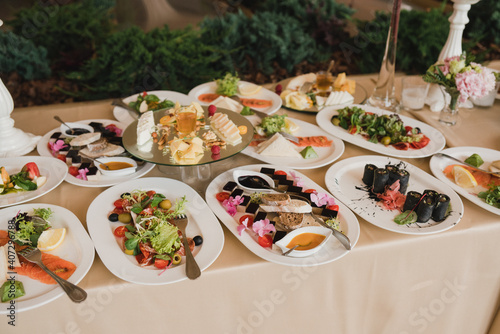 Fototapeta Catering banquet table at wedding reception