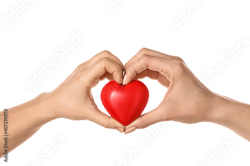 Photo Hands with red heart on white background