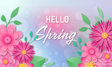 Hello Spring Background With Beautiful Flowers. Simple Paper Cut Style.