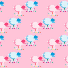 Vector Illustration With Lambs Among The Flowers. Flat Design. Pattern..
