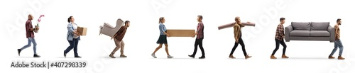 Obraz Young people carrying household items - fototapety do salonu