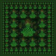 3D Illustration Designs Based On Neon Green Mandelbrot Style Fractal Pattern On A Black Background