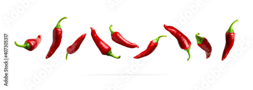 Foto Red fresh chili pepper isolated on white background
