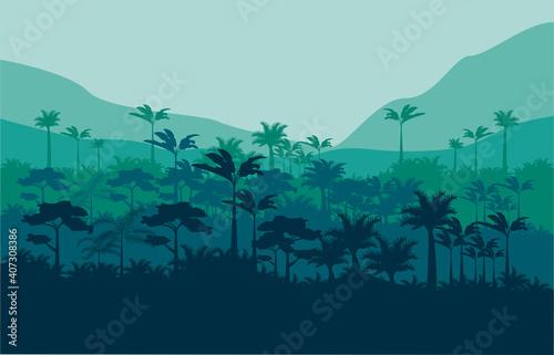 Fotografie, Obraz jungle wild nature green color scene