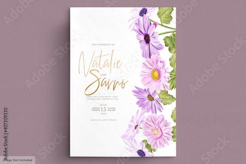 Fotografia wedding card set with chrysanthemum