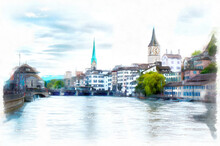 Old Town Of Zurich With Limmat River In Switzerland, Digital Generated Painting