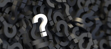 White Question Mark On A Background Of Black Signs. 3D Rendering